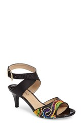 J. Renee Women's 'Soncino' Ankle Strap Sandal Black Bright Multi Fabric