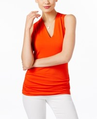 Inc International Concepts Ruched V Neck Top Only At Macy's Cosmic Orange