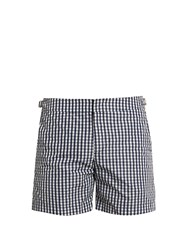 Orlebar Brown Bulldog Gingham Mid Length Swim Shorts Navy White