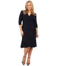 Kiyonna Whimsy Wrap Dress Navy Blue Women's Dress