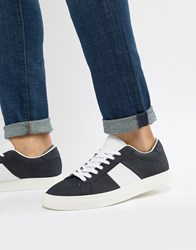 Pull And Bear Pullandbear Suede Trainer In Navy