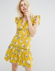 J.O.A Sleeveless Tea Dress With Ruffle Details In Vintage Floral Yellow