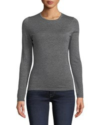 Neiman Marcus Modern Superfine Cashmere Crewneck Sweater Heather Grey