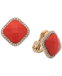 Anne Klein Gold Tone Square Stone And Crystal Clip On Stud Earrings Red Orange