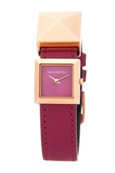 Karl Lagerfeld Women's Demi Stud Leather Strap Watch Pink