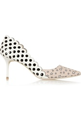 J.Crew Sophia Webster Cutout Leather And Printed Twill Pumps Nude