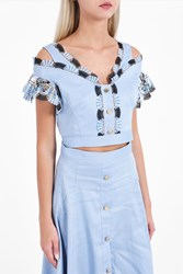 Peter Pilotto Women S Lace Crop Top Boutique1 Blue