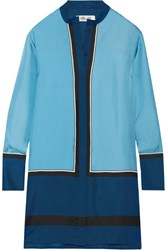 Diane Von Furstenberg Silk Twill Mini Shirt Dress Blue