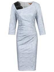 Jolie Moi Three Quarter Sleeve Bonded Lace Dress Silver Grey