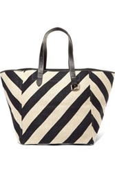 J.W.Anderson Jw Anderson Belt Leather Trimmed Striped Linen Tote Black