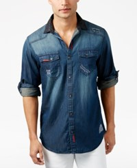 Inc International Concepts Men's Distressed Denim Shirt Only At Macy's Basic Navy