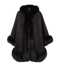 Harrods Of London Cashmere Hooded Cape With Fox Trim