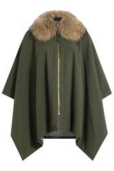 Barbed Cotton Cape With Raccoon Fur Green