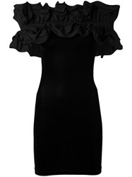 Y Project Ruffled Off The Shoulder Dress Women Cotton Polyester Spandex Elastane 36 Black