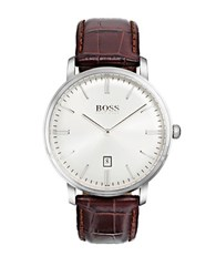 Hugo Boss Tradition Stainless Steel And Crocodile Embossed Leather Strap Watch Brown