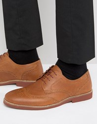 Red Tape Brogues In Tan Milled Leather