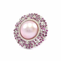 Ri Noor Pink Pearl With Ruby And Diamond Ring Pink Purple