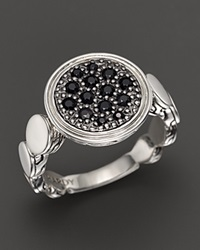 John Hardy Dot Silver Lava Large Round Station Ring With Black Sapphire Silver Black