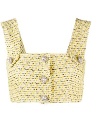 Alessandra Rich Cropped Tweed Top Yellow