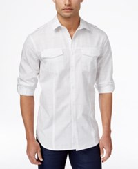 Inc International Concepts Men's Noble Crosshatch Print Long Sleeve Shirt Only At Macy's White