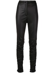 Alexander Wang Ruched Leather Trousers Black