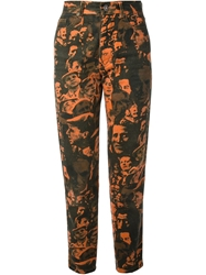 Jean Paul Gaultier Vintage Face Print Jeans Yellow And Orange