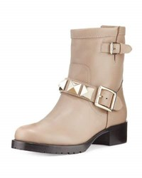 Red Valentino Rockstud Leather Moto Bootie Natural