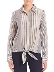 7 For All Mankind Striped Tie Front Shirt Navy Ivory