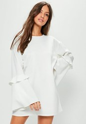 Missguided White Frill Sleeve Sweater Dress