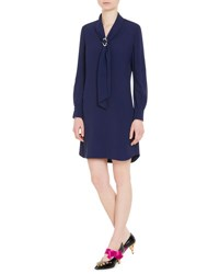 Prada Sable Tie Neck Long Sleeve Dress Blue