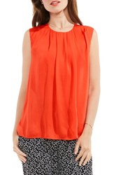 Vince Camuto Women's Sleeveless Rumple Blouse Red Hot
