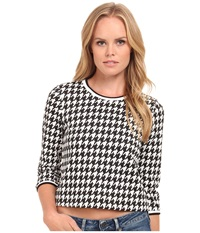 Kensie Raised Houndstooth Top Ks9k3718 Black Combo Women's Long Sleeve Pullover