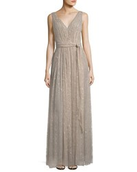 Vera Wang Sleeveless Lace Gown Taupe