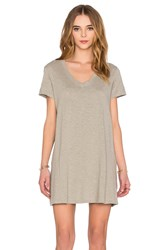 Wilt Slub V Neck Trapeze Tee Shirt Dress Gray