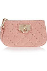 Dkny Quilted Leather Pouch Pink