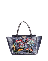 Valentino Rockstud Butterfly Embroidered Tie Dye Tote Bag Denim Medium Blue