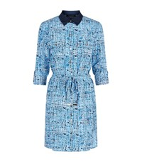 Juicy Couture Tweed Print Silk Shirt Dress Female Blue