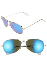 Ray Ban Women's 'New Classic' 59Mm Aviator Sunglasses Gold Blue Mirror Gold Blue Mirror