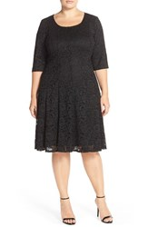 Plus Size Women's Chetta B Lace Fit And Flare Dress
