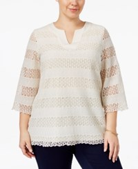 Charter Club Plus Size Lace Tunic Only At Macy's Vintage Cream