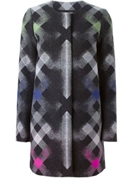 Marco De Vincenzo Lattice Print Coat Black