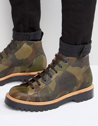 Asos Monkey Boot In Camo Leather Made In England Camo Black