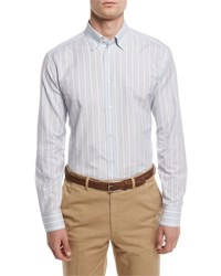 Brioni Striped Sport Shirt Light Blue Tan