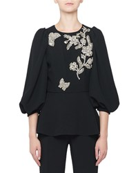 Andrew Gn 3 4 Sleeve Floral Embroidered Blouse Black