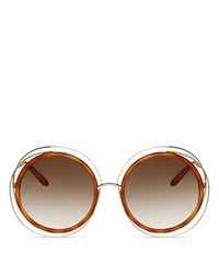 Chloe Carlina Oversized Round Sunglasses 58Mm Gold Blonde Havana Brown Gradient Lens