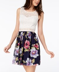 Amy Byer Bcx Juniors' Printed Lace A Line Dress White Navy Floral