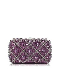 Rodo Purple Silk Tresor Clutch W Crystals