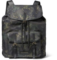 Burberry Leather Trimmed Camouflage Print Canvas Backpack Green