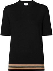 Burberry Short Sleeve Icon Stripe Detail Merino Wool Top Black