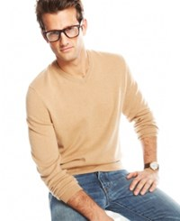 Club Room Cashmere V Neck Solid Sweater Camel